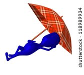 Side view puppet sleep under umbrella very nicely - stock photo