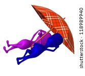 Side view puppets rest under umbrella on beach - stock photo