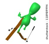 Behind view green puppet craching on ski gliding - stock photo