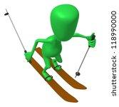 Angle view green puppet ski on white snow - stock photo