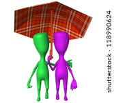 Front view puppets walking in park under umbrella - stock photo