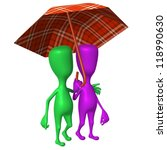 Side view puppets walking in park under umbrella - stock photo