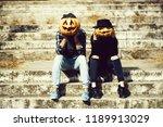 young halloween couple of man... | Shutterstock . vector #1189913029