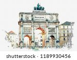 a watercolor sketch or... | Shutterstock . vector #1189930456