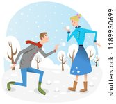 adult couple during snowball...   Shutterstock .eps vector #1189930699