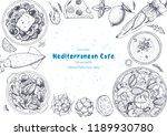 mediterranean cuisine top view... | Shutterstock .eps vector #1189930780