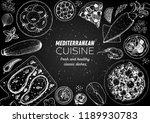 mediterranean cuisine top view... | Shutterstock .eps vector #1189930783