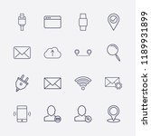 outline 16 connection icon set. ... | Shutterstock .eps vector #1189931899