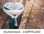 padel blade racket resting on... | Shutterstock . vector #1189941283