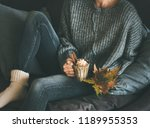 woman in woolen sweater and... | Shutterstock . vector #1189955353