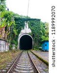 the entrance to the old railway ... | Shutterstock . vector #1189992070