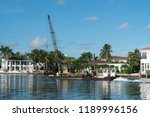 construction crane on water... | Shutterstock . vector #1189996156