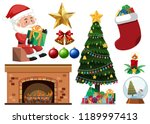 set of christmas objects... | Shutterstock .eps vector #1189997413