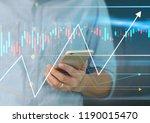 man hand holding smartphone... | Shutterstock . vector #1190015470