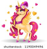 3d pony unicorn with yellow... | Shutterstock .eps vector #1190049496