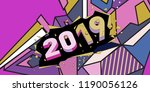 2019 new year text with... | Shutterstock .eps vector #1190056126