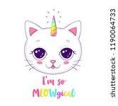 cute cat or unicorn... | Shutterstock .eps vector #1190064733