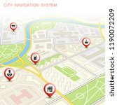city map navigation route ... | Shutterstock . vector #1190072209