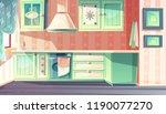 kitchen interior in retro... | Shutterstock .eps vector #1190077270
