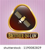 golden emblem with satelite... | Shutterstock .eps vector #1190082829