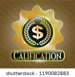 gold emblem with laurel wreath ... | Shutterstock .eps vector #1190082883