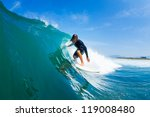 surfer riding large blue ocean... | Shutterstock . vector #119008480