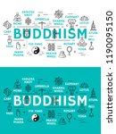 buddhism religion icons. monk...   Shutterstock .eps vector #1190095150