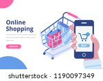 online shopping isometric... | Shutterstock .eps vector #1190097349