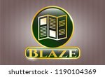 gold badge with brochure icon... | Shutterstock .eps vector #1190104369