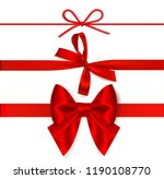 set of decorative red bows with ... | Shutterstock .eps vector #1190108770