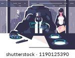 robot boss with woman secretary ... | Shutterstock .eps vector #1190125390