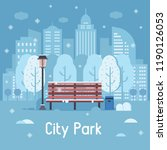 winter city park landscape with ... | Shutterstock . vector #1190126053