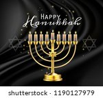hanukkah greeting card with... | Shutterstock .eps vector #1190127979