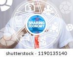 man clicks a sharing economy...   Shutterstock . vector #1190135140