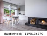 real photo of a fireplace in a... | Shutterstock . vector #1190136370