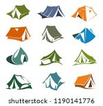 camping and hiking tents icons  ... | Shutterstock .eps vector #1190141776