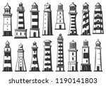 sea lighthouse and marine... | Shutterstock .eps vector #1190141803