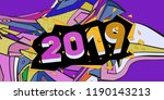 2019 new year text with... | Shutterstock .eps vector #1190143213