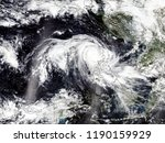 typhoon from space. satellite... | Shutterstock . vector #1190159929