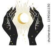 hands holding crescent moon.... | Shutterstock .eps vector #1190161150