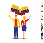 colombia flag waving man and... | Shutterstock .eps vector #1190183263