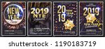 2019 party flyer poster set... | Shutterstock .eps vector #1190183719
