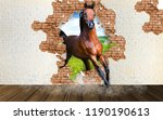 brown horse runs into the room. ... | Shutterstock . vector #1190190613