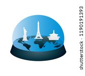 travel snow globe with earth map | Shutterstock .eps vector #1190191393
