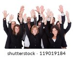 Small photo of High angle view of a diverse group of business people waving in acknowledgment of an accolade isolated on white