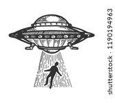 ufo flying saucer kidnaps human ... | Shutterstock . vector #1190194963