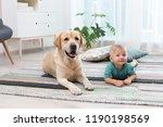 adorable yellow labrador... | Shutterstock . vector #1190198569