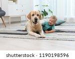 adorable yellow labrador... | Shutterstock . vector #1190198596