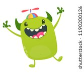 cute tiny green alien in kid's... | Shutterstock .eps vector #1190200126