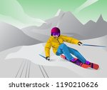 illustration about skiing in... | Shutterstock .eps vector #1190210626